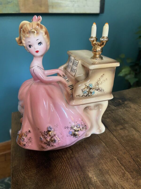 Vintage 1959 Josef Originals Girl Playing Piano Musical Figurine
