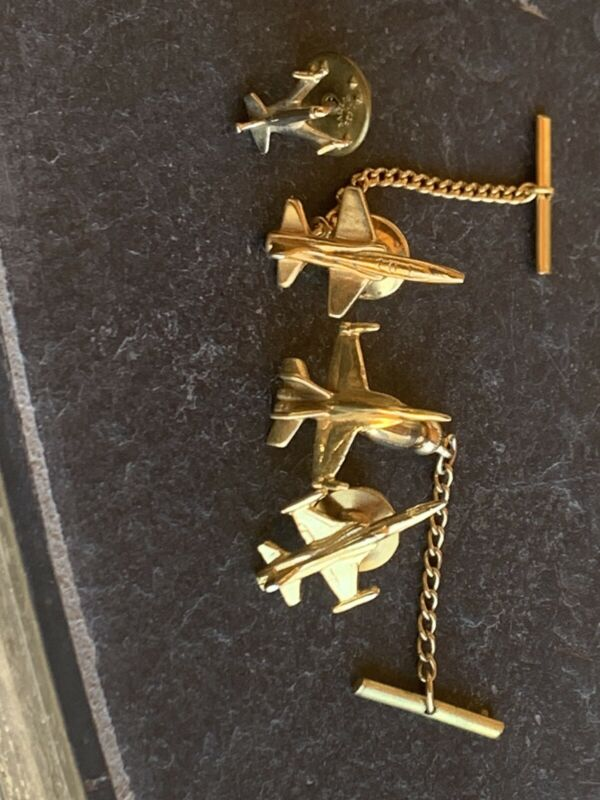 4 Vintage Gold Tone Aviation Hat Pins :