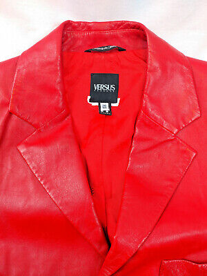 VERSACE Faux LEATHER Jacket BLAZER Red SIZE 40 NEW