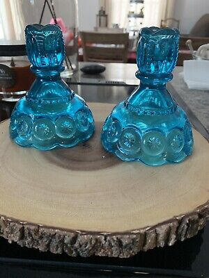 Vintage L. E. Smith Moon Star Blue Glass Candle Holders Etched Pattern for sale  New Bedford