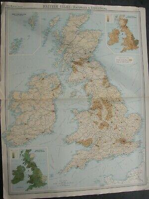 1922 BRITISH ISLES MAP,TIMES ATLAS,RAILWAYS,&INDUSTRIAL,.BARTHOLOMEW,EDINBURHGH,