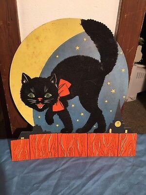 Vtg Halloween Decoration Cat Ghost 1960s Bat Pumpkin Modern Moon Cemetery Sign