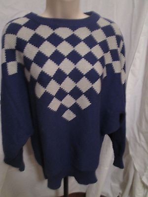 - bel Tricots Boutique Women's Sweaters  Diamond Pattern with Batwing Sleeves Sz M