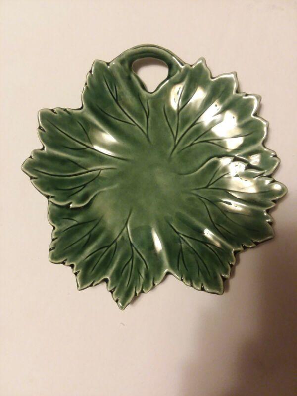 "Steubenville Pottery Marfield LEAF Design Plate 9"" Green Vtg 1950s"