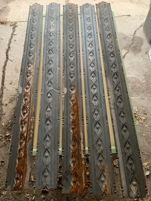 """ANTIQUE METAL TIN CROWN MOLDING,  CEILING TILE 49"""" - 50""""  X 4 3/8"""".  NEVER USED!"""