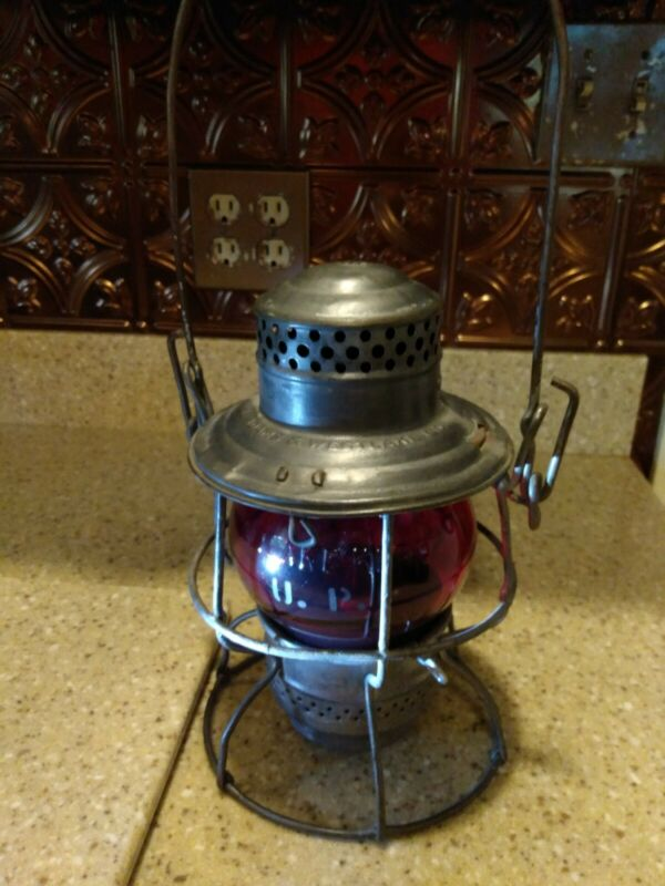 Union Pacific Railroad Lantern RARE Red Adlake Globe