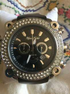 Men Marc Ecko The Sillo Multifunction Crystal Accented Black Dial