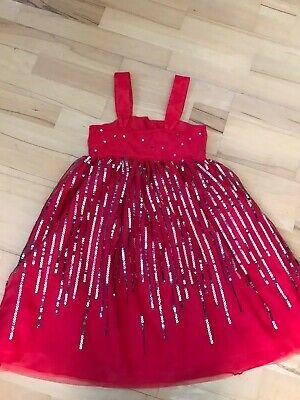 Kleid Mädchen H&M Gr. 134-140, rot -Tüll mit silber-grauen Pailletten
