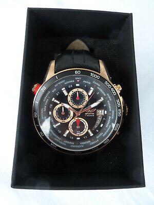 Aviator AVW8974G139 Armbanduhr Herrenuhr Quarz Batterie Weltzeit Armband schwarz (Herren-uhren Schwarz)