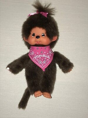 Gently Used VERY CUTE Monchhichi Brown Plush Sucking Thumb Monkey Doll w Pink
