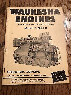 Waukesha Engines Model F-2895-d Operators Manual