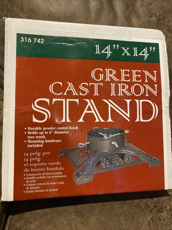 Vintage Green Cast Iron Christmas Tree Stand Square 14 x 14 New