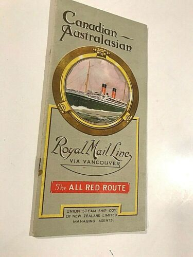 1930 ROYAL MAIL LINE STEAM SHIP CHART MAP OF MAIL ROUTES - CANADA, AUSTRALIA