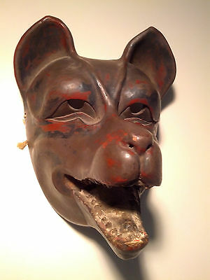Antique, Danced, w/Patina Japanese Kitsune (Fox) Mask wArticulating Jaw – Signed
