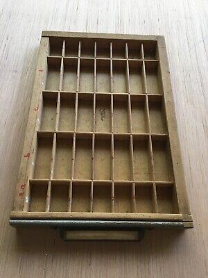 Vintage Printers Letterpress Kwikprint Type Sorting Tray Box Cabinet Drawer