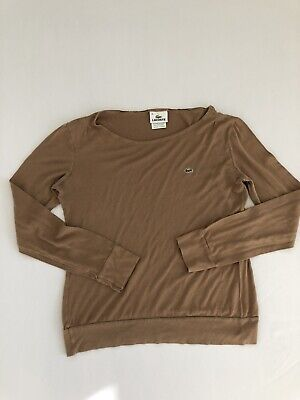 Lacoste Women's Brown Long-sleeved Cropped Blouse Size 36 100% Cotton