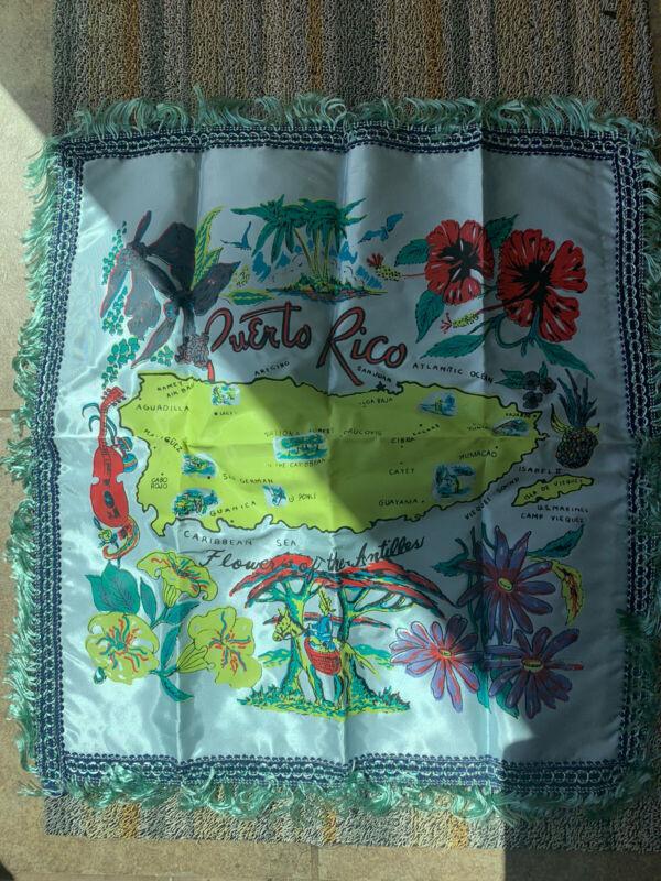 1940s ? Souvenir Satin Banner Pillow Case Flower Antilles Map Fringe Puerto Rico