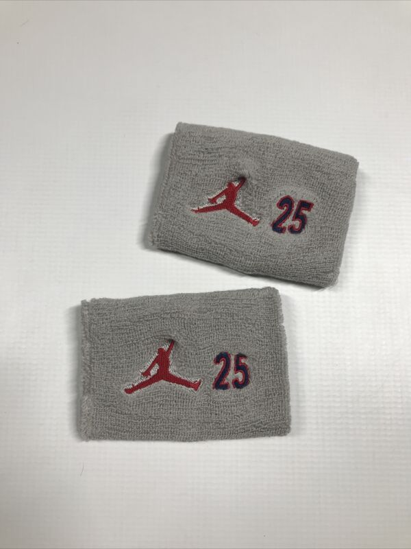 Air Jordan Gray #25 Player Issued Wristbands Set of Two New
