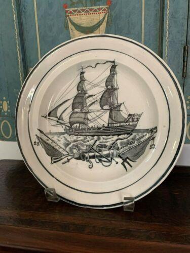 ANTIQUE  DILLWYN SWANSEA SHIP PATTERN PLATE