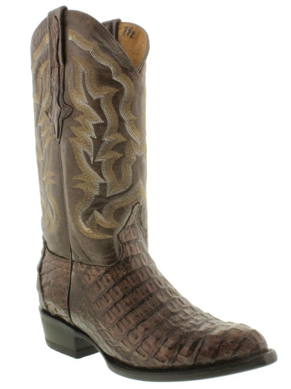Mens, Brown, Genuine, Crocodile, Alligator, Flank, Skin, Leather, Cowboy, Boots, J, Toe