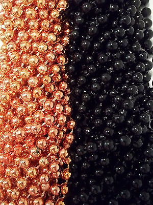 48 Orange Black Round Mardi Gras Beads Party Favors Halloween Necklaces 4 - Mardi Gras Party Favors
