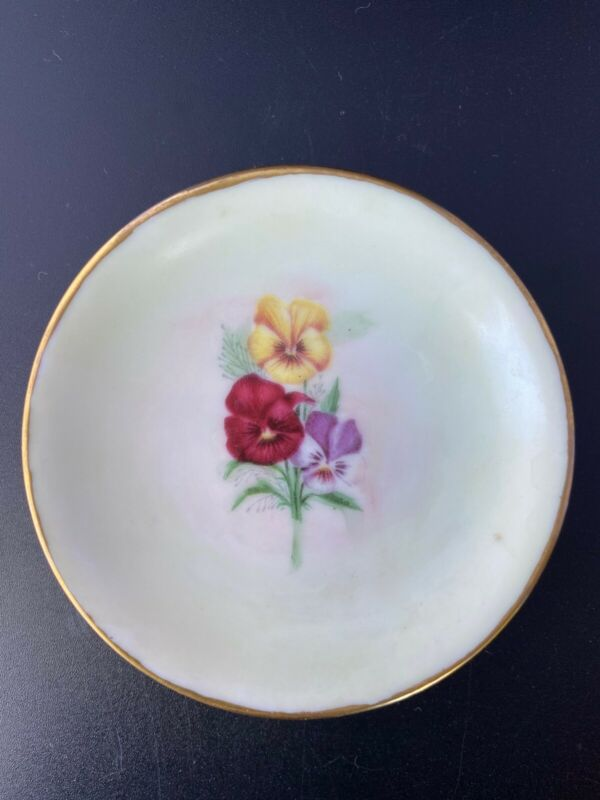 Vintage Pansy Butter Pat Plate - 3 1/2 inches diameter, marked Tobi