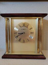 Howard Miller Clock Carlton 645-391 Desk Mantle Table Wood and Brass Works