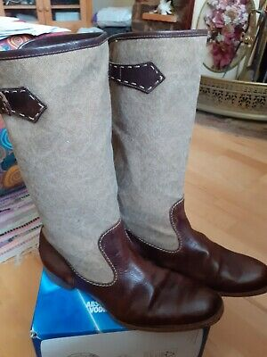 Henry Beguelin mens/ladies leather & canvas boots size 8 used. Stunning quality!