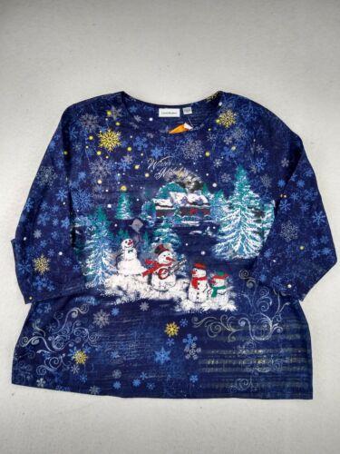 IB Diffusion - Long Sleeve Christmas Shirt - Women - 2X - Blue