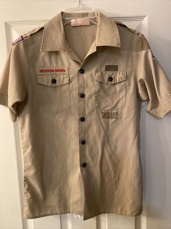 Boy Scout BSA UNIFORM SHIRT Youth Large Short Sleeve Tan G46