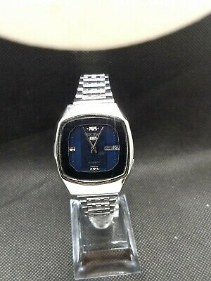 """Vintage Seiko 5 17 j """"TV style"""" Automatic Men's Watch.Kwikset Day/Date.Blue dial"""