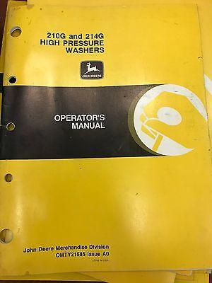 John Deere Op Manual 210g 214g High Pressure Washers Omty21585 Used