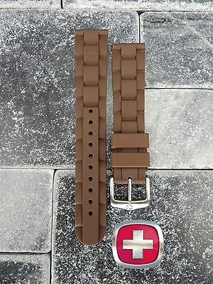 Neu Wenger Swiss Militär Original Gummiband Braun Taucher Uhrenarmband 20mm