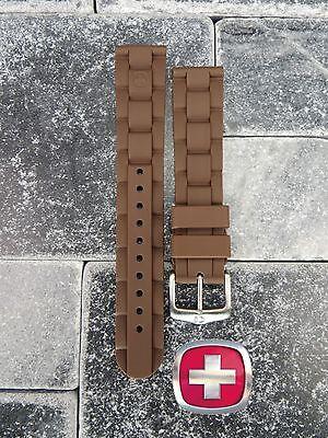 Neu Wenger Swiss Militär Original Gummiband Braun Taucher Uhrenarmband 20mm 19mm