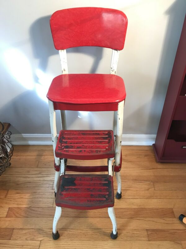 Vintage METALOID Step Stool Kitchen Red White Fold Out Steps Utility