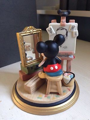 "NIB Walt Disney World ""Mickey Self Portrait"" Ceramic Figurine Norman Rockwell"