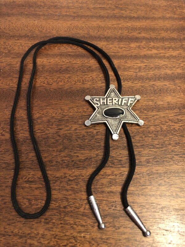 VINTAGE SHERIFF BADGE STAR W/ OPAL STONE ON STRING TIE W/ METAL ENDS MINT RARE