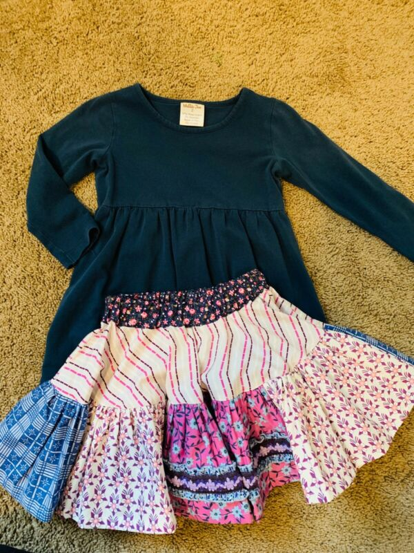 Matilda Jane Girls Size 2 Platinum Skirt-Rare EUC Purple Blue Top