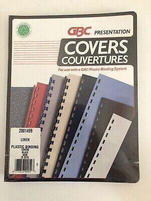 Gbc Black Presentation Covers - Linen Plastic Binding Covers Black 25 Sets