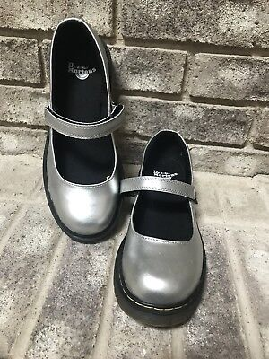Dr. Doc Martens Mary Jane Shiny Silver Leather Shoes Girls Size 4 ()