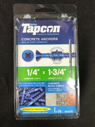 24375 Tapcon 75-Pack 1-3/4-in x 1/4-in Concrete Anchors