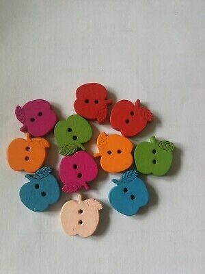 wooden apple shaped buttons mixed lot x12 new approx 15mm arts craft sewing