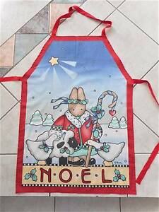 Handmade Christmas apron w bib NOEL festive bunny holly trees Carindale Brisbane South East Preview