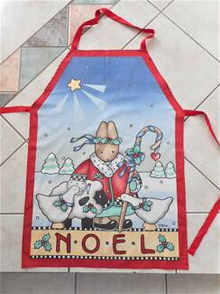 Handmade Christmas apron w bib NOEL festive bunny holly trees