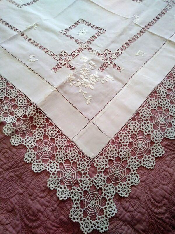"Elaborate Italian / Irish Needle Lace, Drawnwork, Embroidered Tablecloth 44""x43"""