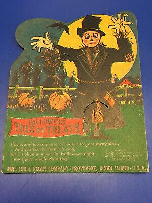 1940s E. Rosen Co. Halloween Trix Or Treats Scarecrow Lollipop Candy Paper Card