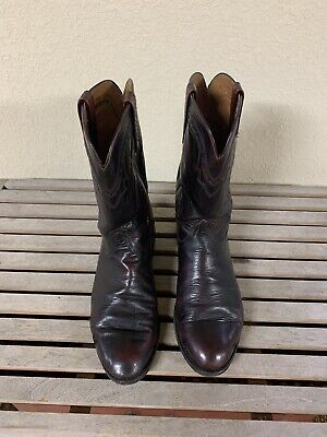 Lucchese 2000 Men's Burgundy Leather Western Cowboy Pull On Boots Size 10.5 2E