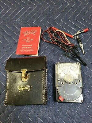 Triplett Model 310 Hand-sized Voms Analog Multimeter Not Tested Leather Case