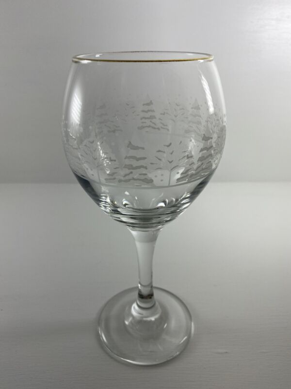 4 Libbey Christmas Winter White Frosted Pine Trees Wine Goblets Glasses Arby