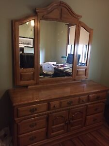 Dresser, night stands and queen headboard for sale